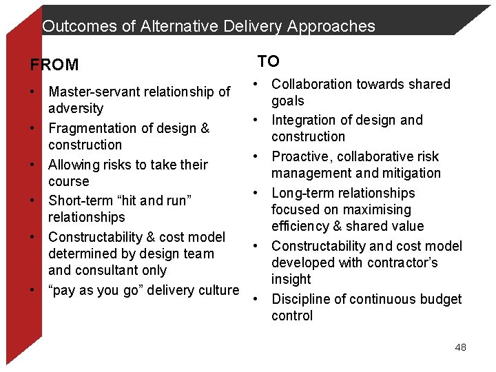 Outcomes of Alternative Delivery Approaches FROM • Master-servant relationship of adversity • Fragmentation of