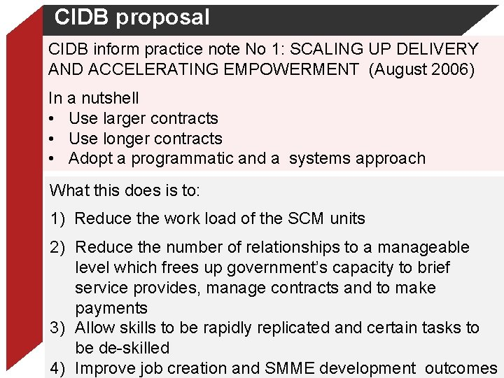 CIDB proposal CIDB inform practice note No 1: SCALING UP DELIVERY AND ACCELERATING EMPOWERMENT