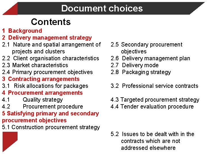 Document choices Contents 1 Background 2 Delivery management strategy 2. 1 Nature and spatial