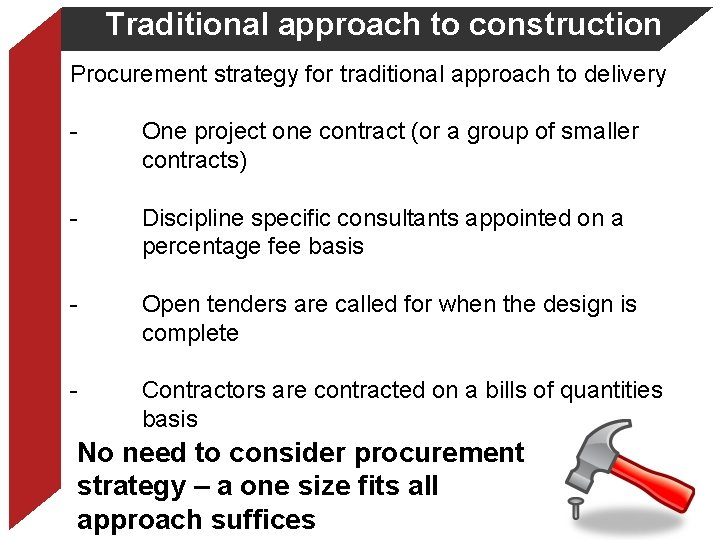 Traditional approach to construction Procurement strategy for traditional approach to delivery - One project