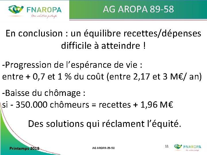 AG AROPA 89 -58 En conclusion : un équilibre recettes/dépenses difficile à atteindre !