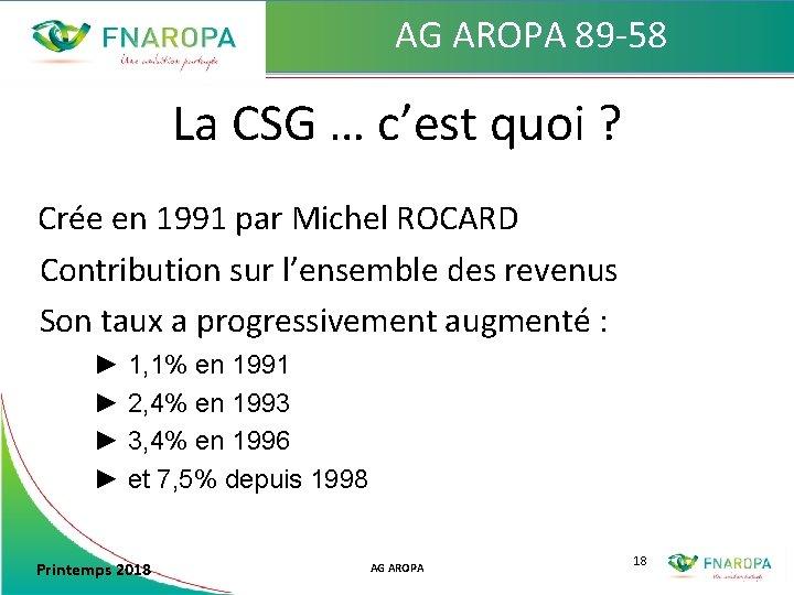 AG AROPA 89 -58 La CSG … c'est quoi ? Crée en 1991 par