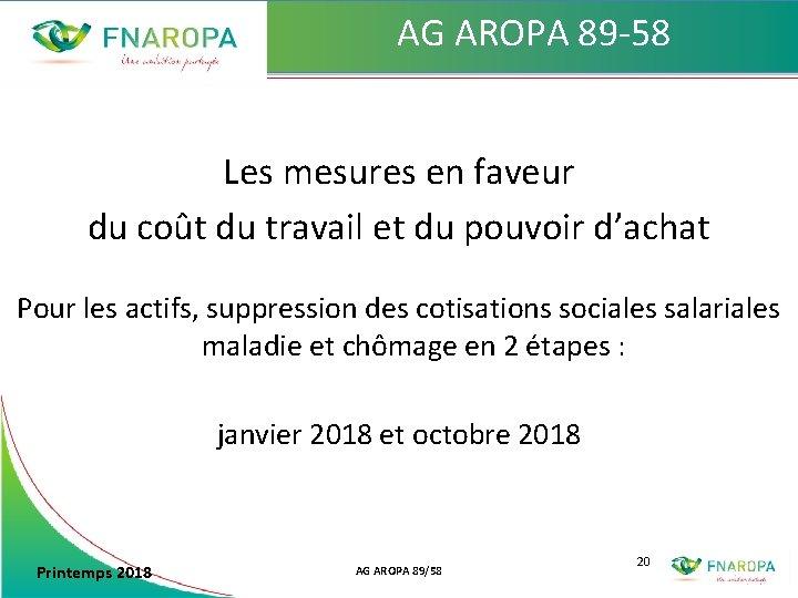 AG AROPA 89 -58 Les mesures en faveur du coût du travail et du