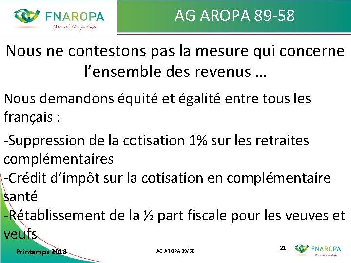 AG AROPA 89 -58 Nous ne contestons pas la mesure qui concerne l'ensemble des