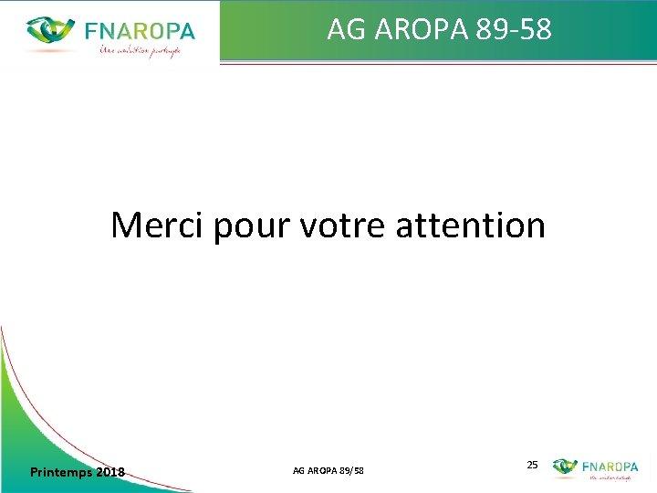 AG AROPA 89 -58 Merci pour votre attention Printemps 2018 AG AROPA 89/58 25