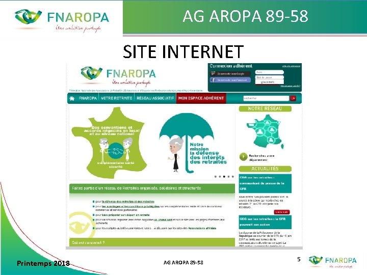 AG AROPA 89 -58 SITE INTERNET Printemps 2018 AG AROPA 89 -58 5