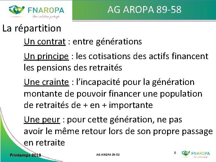 AG AROPA 89 -58 La répartition Un contrat : entre générations Un principe :