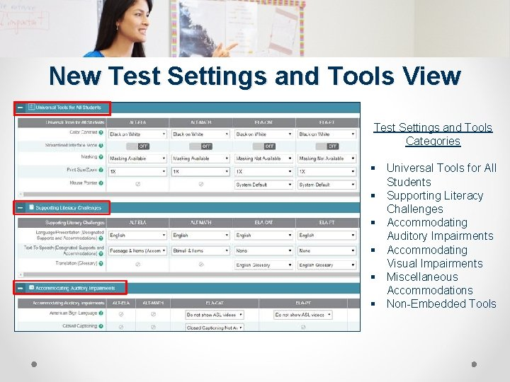 New Test Settings and Tools View Test Settings and Tools Categories § Universal Tools