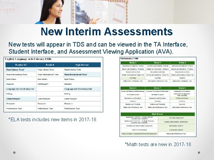 New Interim Assessments New tests will appear in TDS and can be viewed in