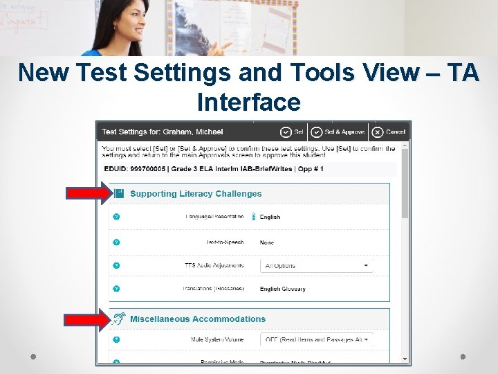New Test Settings and Tools View – TA Interface