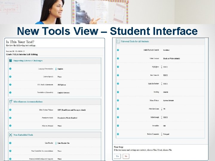 New Tools View – Student Interface