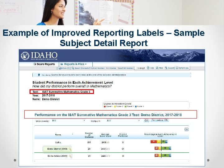 Example of Improved Reporting Labels – Sample Subject Detail Report