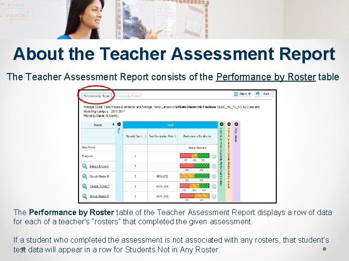 About the Teacher Assessment Report The Teacher Assessment Report consists of the Performance by