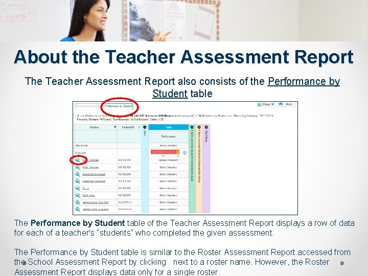 About the Teacher Assessment Report The Teacher Assessment Report also consists of the Performance
