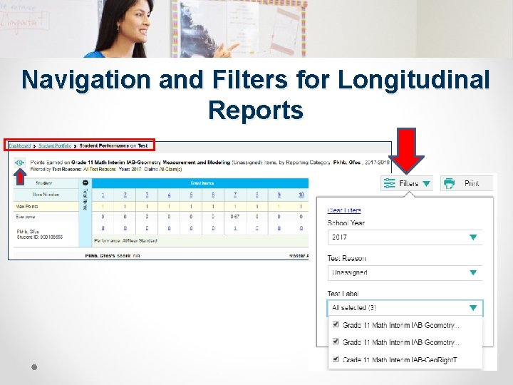 Navigation and Filters for Longitudinal Reports