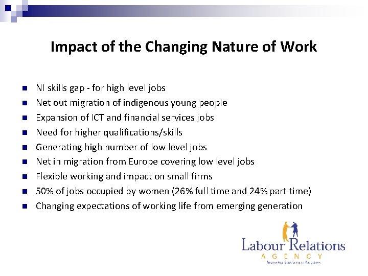 Impact of the Changing Nature of Work n n n n n NI skills