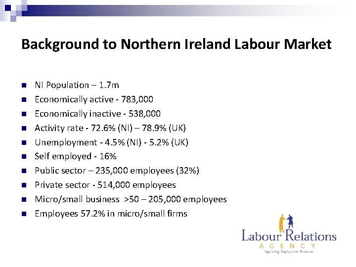 Background to Northern Ireland Labour Market n n n n n NI Population –