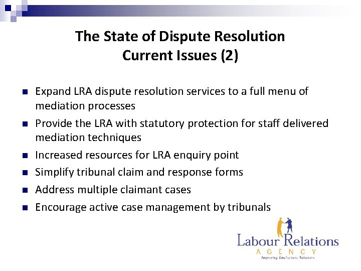 The State of Dispute Resolution Current Issues (2) n n n Expand LRA dispute