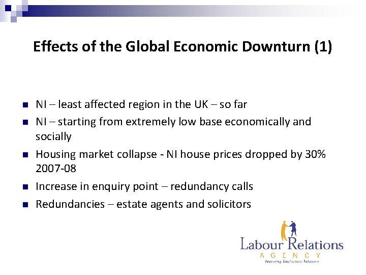 Effects of the Global Economic Downturn (1) n n n NI – least affected