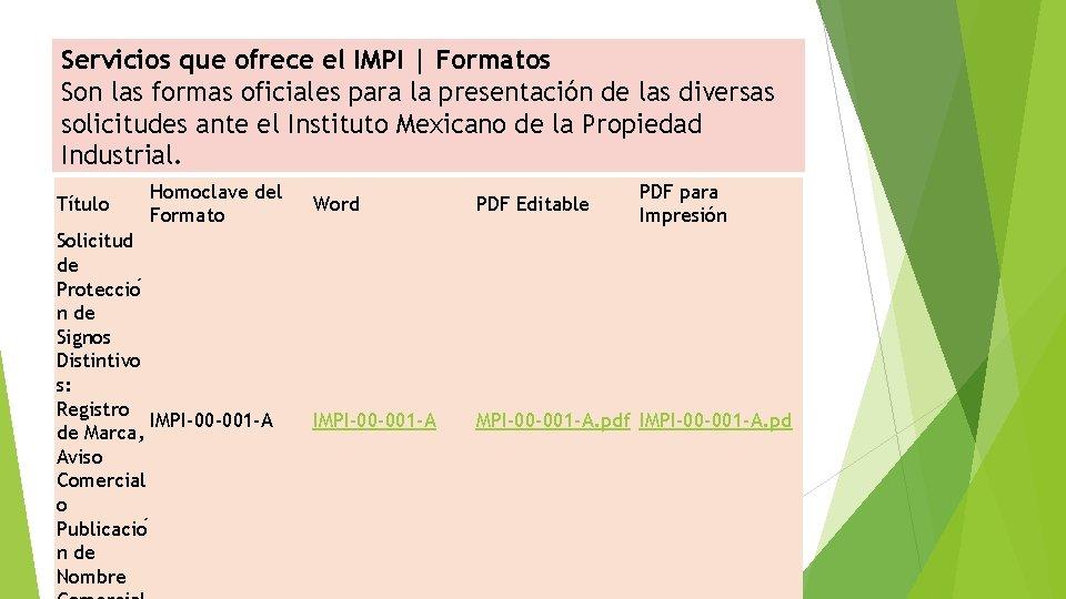 Servicios que ofrece el IMPI | Formatos Son las formas oficiales para la presentación