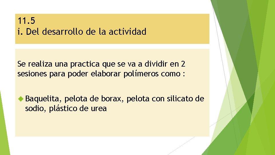 11. 5 i. Del desarrollo de la actividad Se realiza una practica que se