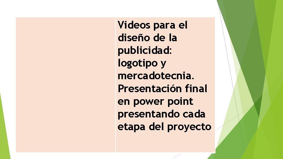 Videos para el diseño de la publicidad: logotipo y mercadotecnia. Presentación final en power