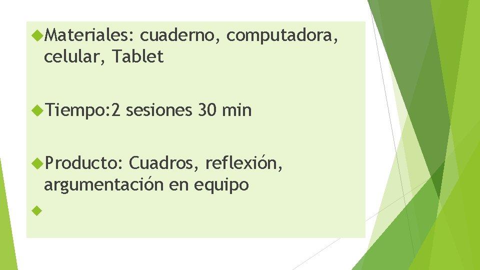 Materiales: cuaderno, computadora, celular, Tablet Tiempo: 2 Producto: sesiones 30 min Cuadros, reflexión,