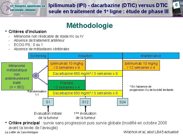 Ipilimumab (IPI) - dacarbazine (DTIC) versus DTIC seule en traitement de 1 e ligne