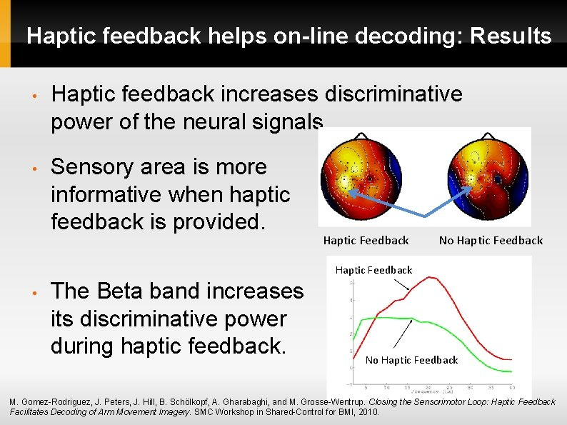 Haptic feedback helps on-line decoding: Results • Haptic feedback increases discriminative power of the
