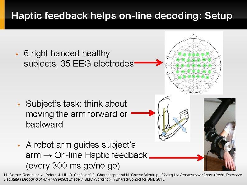 Haptic feedback helps on-line decoding: Setup • 6 right handed healthy subjects, 35 EEG