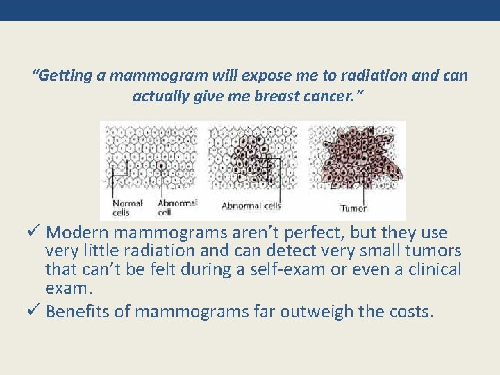 """""""Getting a mammogram will expose me to radiation and can actually give me breast"""