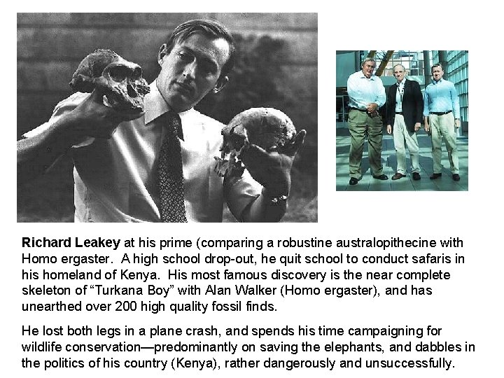 Richard Leakey at his prime (comparing a robustine australopithecine with Homo ergaster. A high