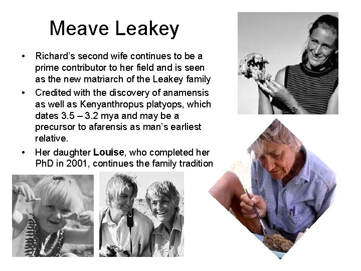 Meave Leakey • • • Richard's second wife continues to be a prime contributor