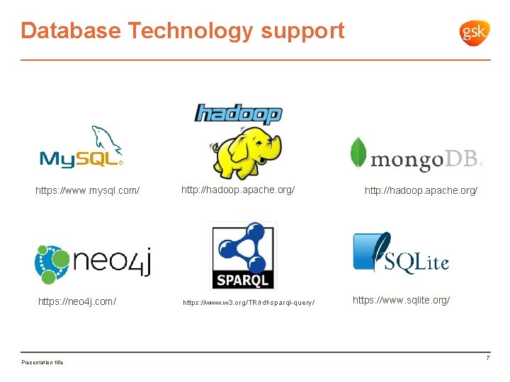 Database Technology support https: //www. mysql. com/ https: //neo 4 j. com/ Presentation title