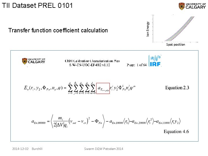 Transfer function coefficient calculation Ion Energy TII Dataset PREL 0101 Spot position 2014 -12