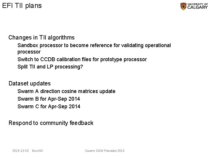 EFI TII plans Changes in TII algorithms Sandbox processor to become reference for validating