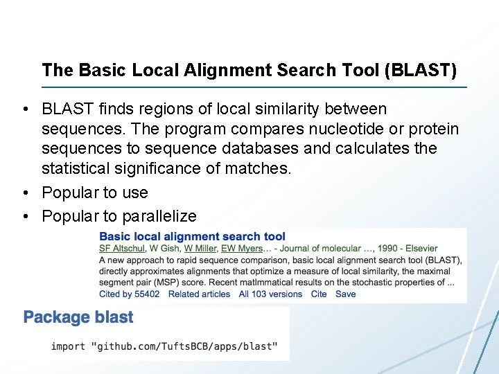 The Basic Local Alignment Search Tool (BLAST) • BLAST finds regions of local similarity