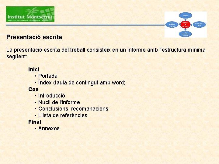Presentació escrita La presentació escrita del treball consisteix en un informe amb l'estructura mínima
