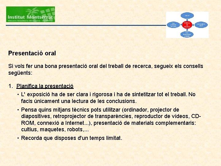 Presentació oral Si vols fer una bona presentació oral del treball de recerca, segueix