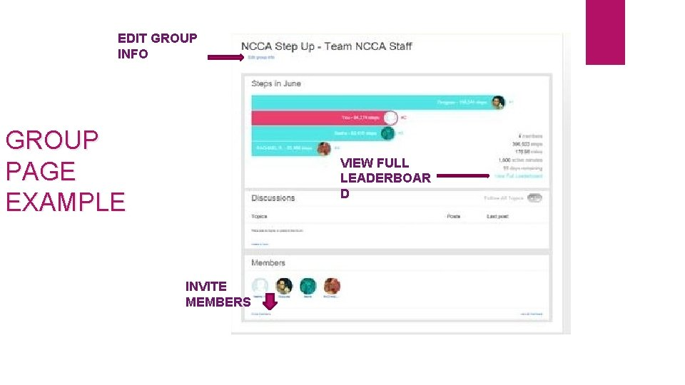 EDIT GROUP INFO GROUP PAGE EXAMPLE VIEW FULL LEADERBOAR D INVITE MEMBERS