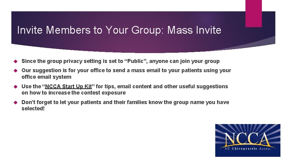 Invite Members to Your Group: Mass Invite Since the group privacy setting is set