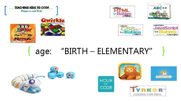 """[ TEACHING KIDS TO CODE Process and Path { ] age: """"BIRTH – ELEMENTARY"""""""