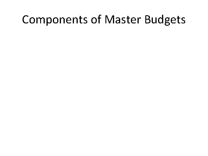Components of Master Budgets