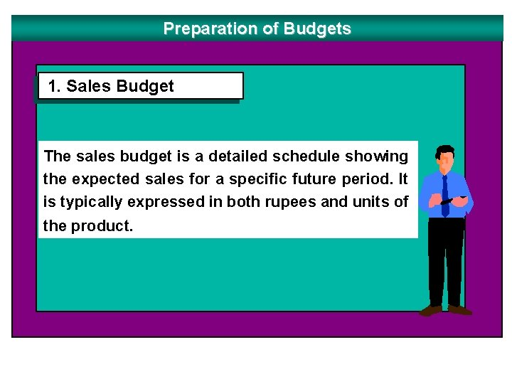 Preparation of Budgets 1. Sales Budget The sales budget is a detailed schedule showing