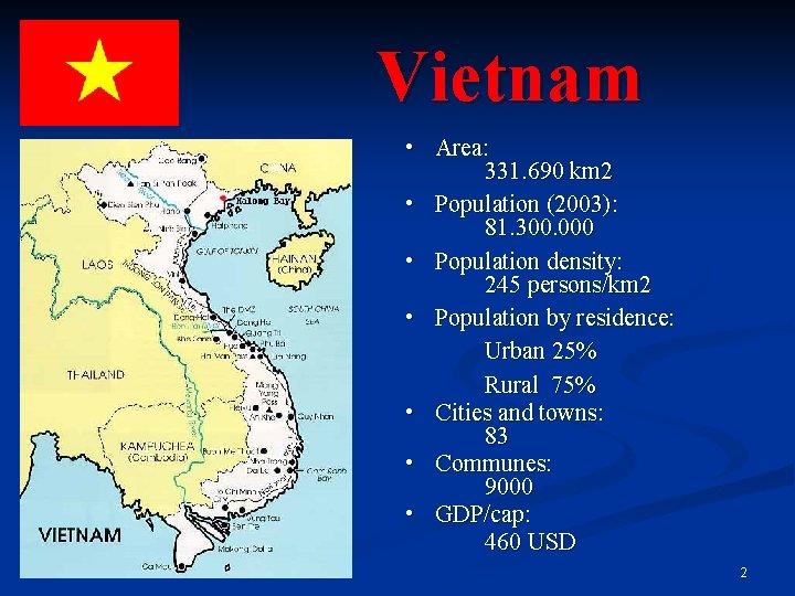 Vietnam • Area: 331. 690 km 2 • Population (2003): 81. 300. 000 •