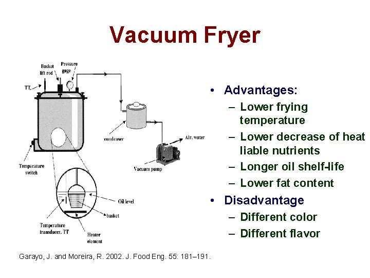Vacuum Fryer • Advantages: – Lower frying temperature – Lower decrease of heat liable
