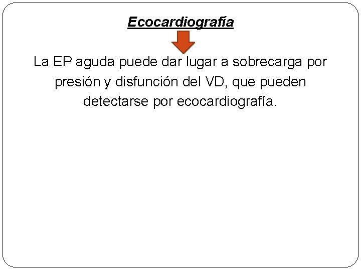 Ecocardiografía La EP aguda puede dar lugar a sobrecarga por presión y disfunción del