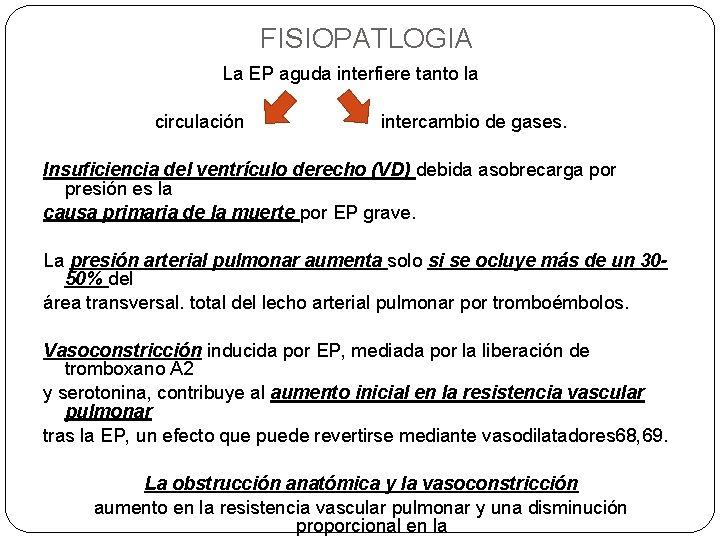 FISIOPATLOGIA La EP aguda interfiere tanto la circulación intercambio de gases. Insuficiencia del ventrículo