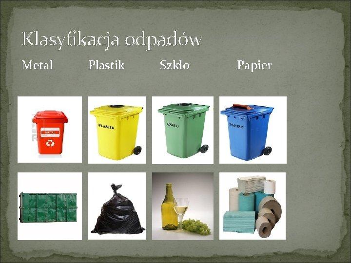 Klasyfikacja odpadów Metal Plastik Szkło Papier