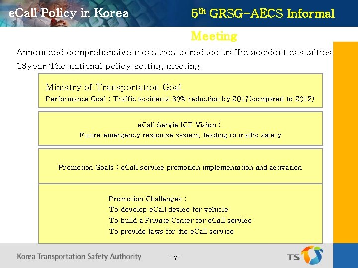 e. Call Policy in Korea 5 th GRSG-AECS Informal Meeting Announced comprehensive measures to
